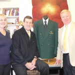 Jeff Kennett (centre) with tournament founders Peter and Angela Mann