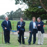 President of Sale Golf Club Bruce Carter, Mayor of the Wellington Shire Jeff Amos, Deputy Premier of Victoria Hon Peter Ryan and 5 time British Open winner Peter Thomson
