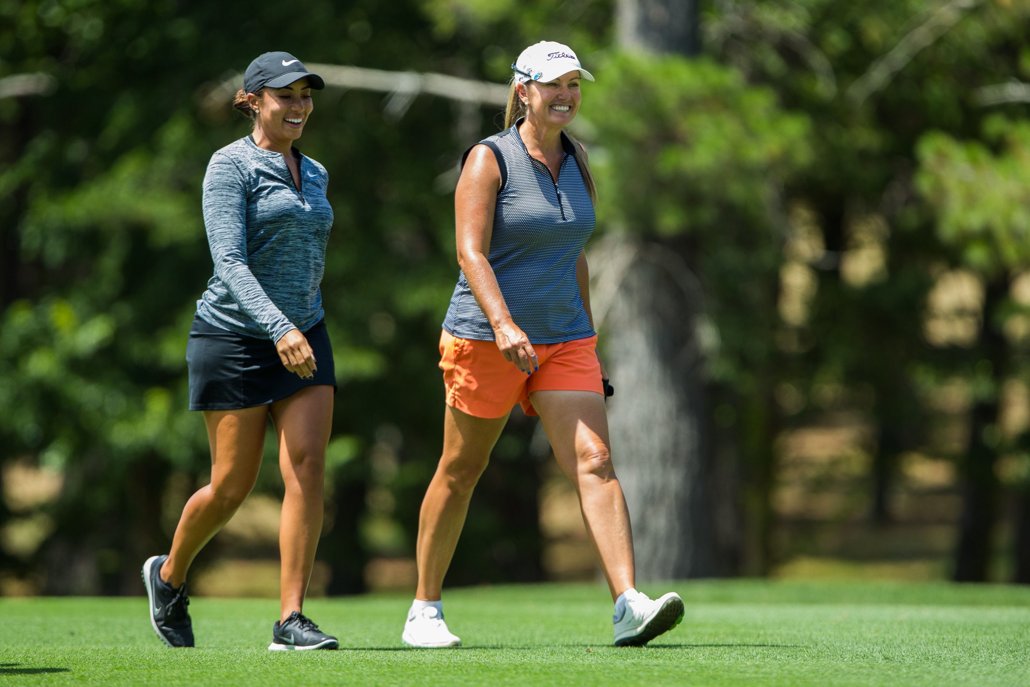 Cheyenne Woods and Adele Douglas during the Wednesday practice round