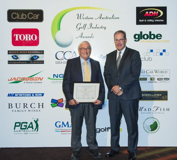 Chairman of the awards committee and GMAWA executive member/captain Troy O'Hern (right) presents Alex Monteath with his WA Golf Industry Recognition Award.