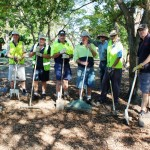 DIG IN: A group of Ashgrove Golf Club members at work on the club's beautification program.