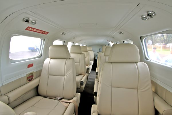 Air Adventure's comfortable, Leather Interior aboard their Cessna Conquest II