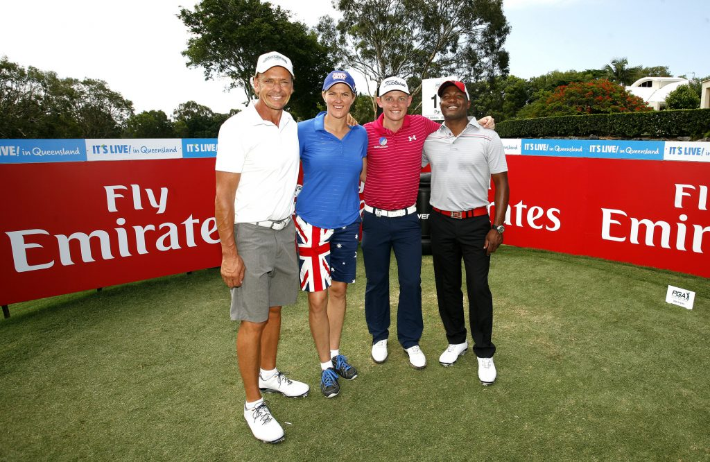 Former Australian Ironman Guy Leech, Olympic beach volleyball gold medallist Natalie Cook and former West Indies cricketer Brian Lara joined Cameron Smith (second from right) on the tee at the Australian PGA Championship pro-am.