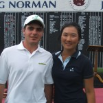 Greg Norman Junior Masters winners Anthony Murdaca and Su Hyun Oh.