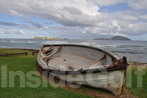 An old boat near the shore at Norfolk Island