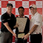 David Horsey of England, S.S.P. Chowrasia of India, defending champion and Paul McGinley of Ireland posing with the Avantha Masters 2012 trophy (Photo courtesy of Asian Tour)
