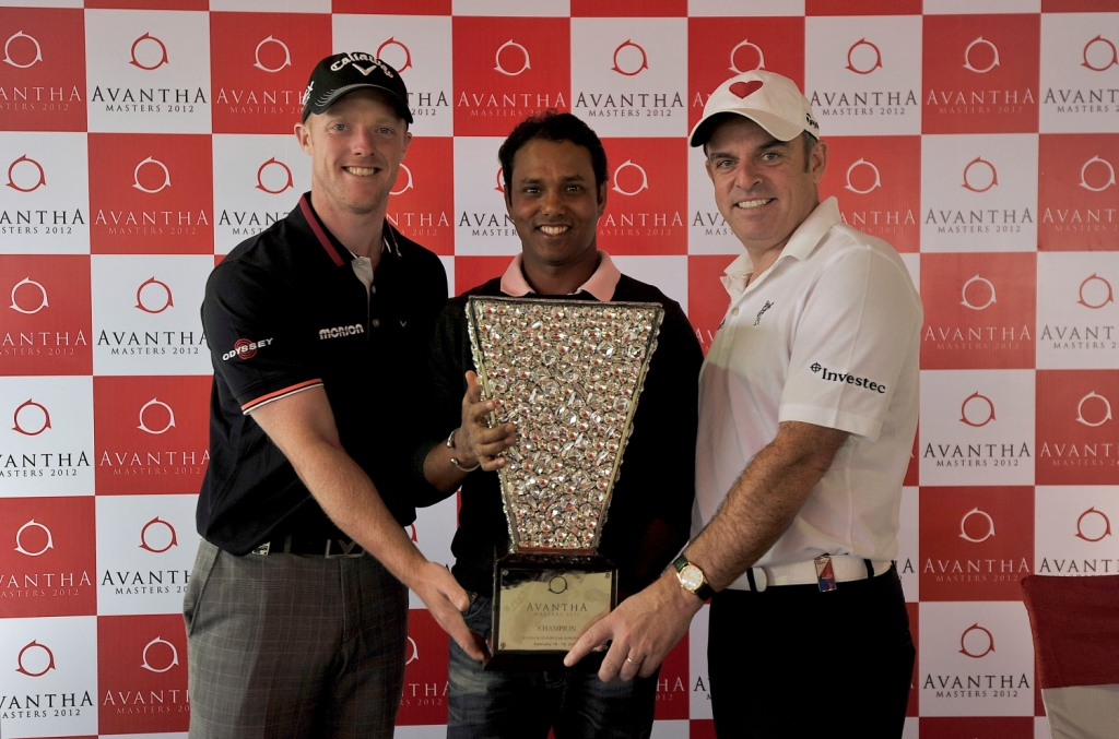 David Horsey, Chowrasia and McGinley with the Avantha Masters trophy