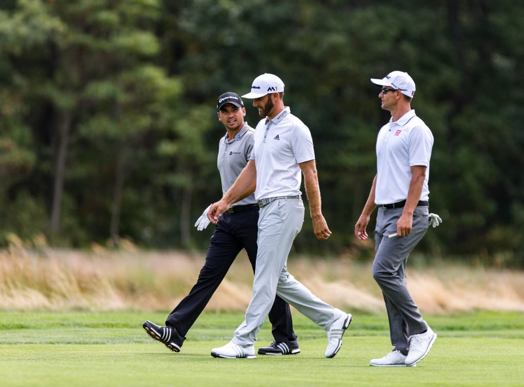 New World Number 1, Dustin Johnson, is flanked by former Number Ones Jason Day and Adam Scott.