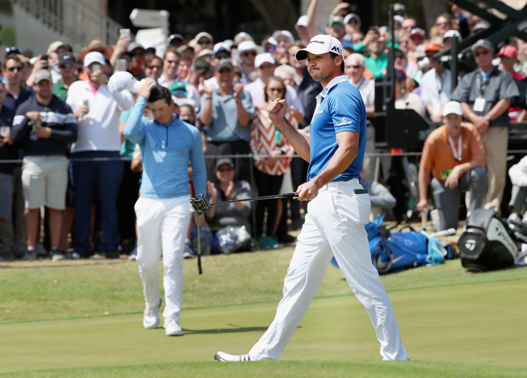 AUSTIN, TX - MARCH 27: Jason Day of Australia celebrates his par-saving putt on the 18th green to defeat Rory McIlroy 1up during their semifinal match at the World Golf Championships-Dell Match Play at the Austin Country Club on March 27, 2016 in Austin, Texas. (Photo by Tom Pennington/Getty Images)