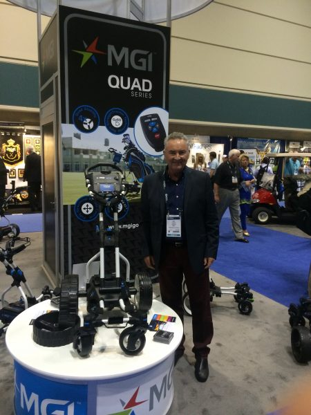Ian Edwards, founder of MGI, with the new Quad series at the PGA merchandise show in Orlando, Florida