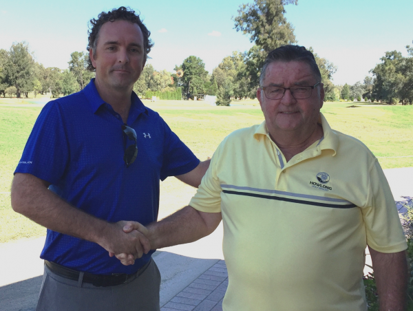 Howlong Golf Resort President Ken Walton is pictured congratulating John Cannon on his appointment as Director of Golf.