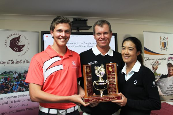 John Senden (centre) poses with Greg Norman Golf Foundation-organised Titleist Winter Classic winners Blake Dowling and Samantha Foley.