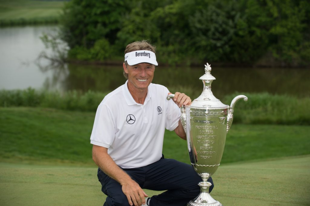 POTOMAC FALLS, VA - MAY 28: Champion, Bernhard Langer of Germany, poses for a photo with the Alfred S. Bourne Trophy during the 78th KitchenAid Senior PGA Championship at Trump National Golf Club Washington, D.C. on May 28, 2017 in Potomac Falls, Virginia. (Photo by Montana Pritchard/PGA of America)