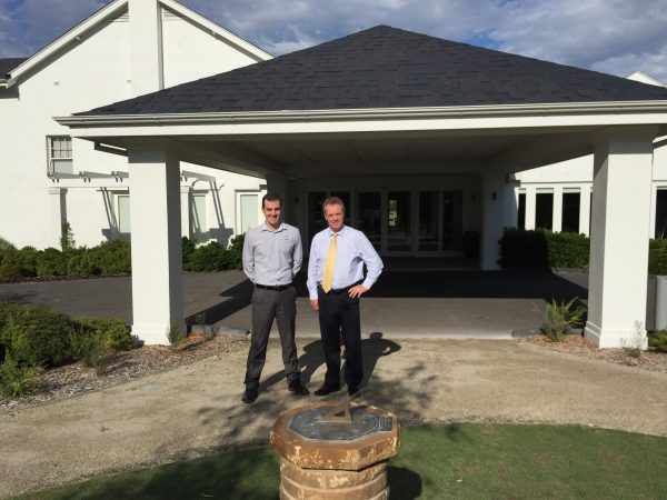 Headland Golf Club general manager Ben Dobson and Kingston Heath general manager Gregg Chapple share ideas