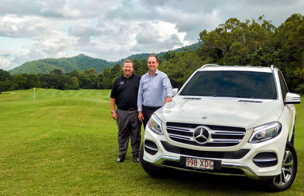 Photo: (L) Declan McCollam General Manager Paradise Palms, (R) Brendan Roberts, Mercedes Benz Cairns