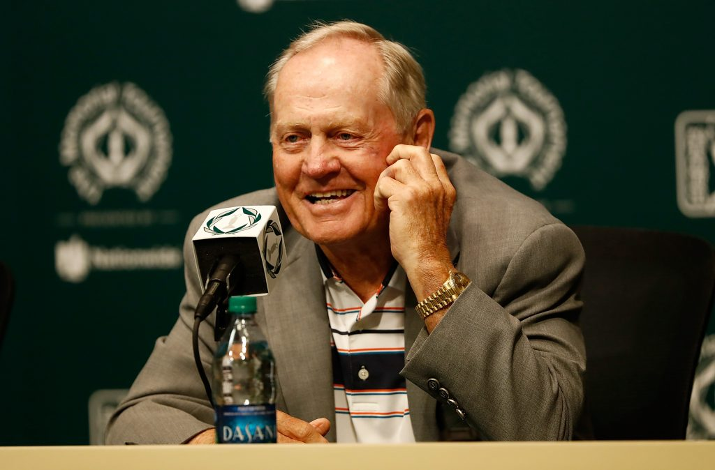 DUBLIN, OH - MAY 30: Jack Nicklaus speaks to the media prior to The Memorial Tournament Presented By Nationwide at Muirfield Village Golf Club on May 30, 2017 in Dublin, Ohio. (Photo by Sam Greenwood/Getty Images)