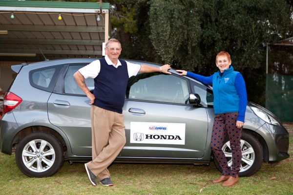 Peter Wight with his new Honda Jazz, presented by Tournament organiser Kym Doherty