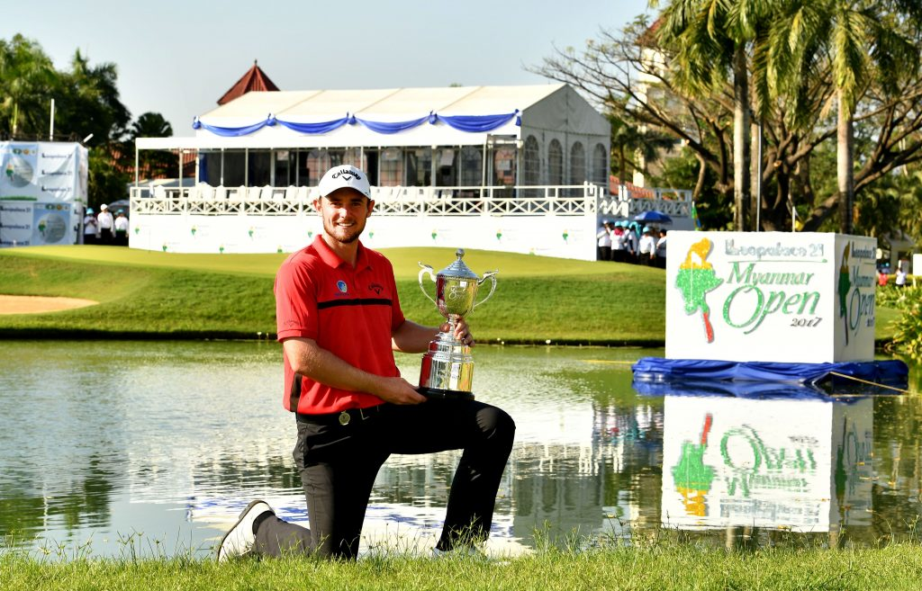 YANGON-MYANMAR – Todd Sinnott of Australia pictured with the winner's trophy during the final round of the Leopalace21 Myanmar Open on Sunday January 29, 2017, at the Pun Hlaing Golf Club, Yangon, Myanmar. The USD$ 750.000 Asian Tour event is co-sanctioned with the Japan Golf Tour, January 26 – 29, 2017. Picture by Paul Lakatos/Asian Tour.