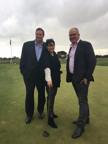 Stephen Pitt, Midori Miyazaki and Leon Bignell confirm the dates, sponsorship and first player announcements at Royal Adelaide Golf Club (Photo: Golf Australia)