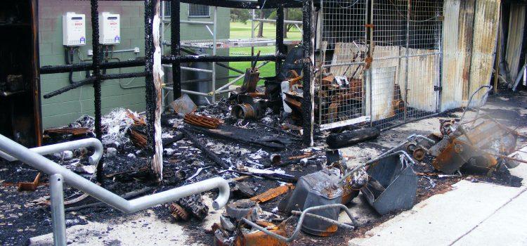 Fire razes club's machinery shed