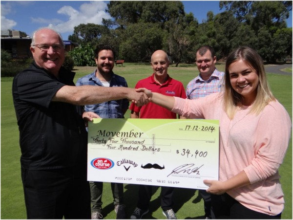 On Course Golf CEO Geoff Zarth (left) hands over a cheque to Movember's Julia Worrall as Andy Dennis (Movember), Steve Montgomery (Centenary Park Public Golf, On Course Golf pro) and Matt Sullivan (Callaway) look on